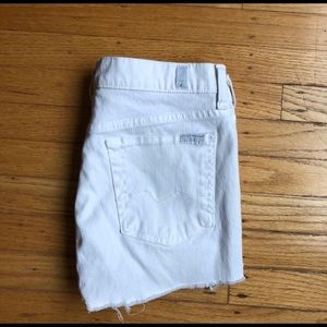 7 for all mankind white distressed cutoff shorts